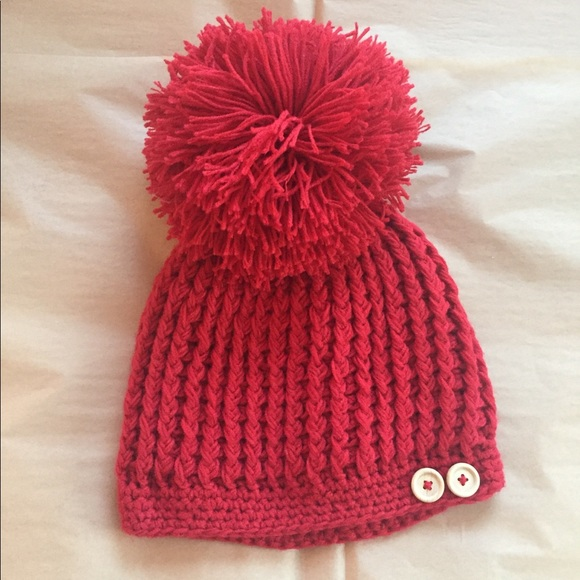 24ba4a05033c6f Do Everything in Love Accessories | Red Giant Pom Pom Knit Hat ...